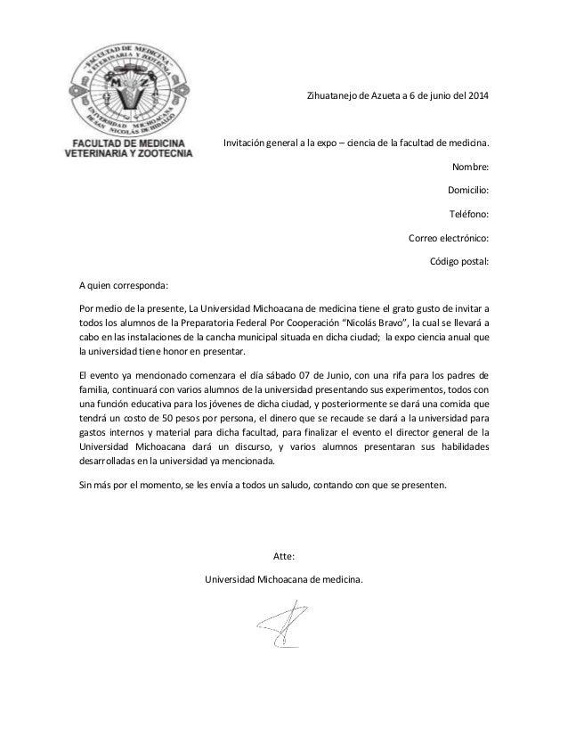 Zihuatanejo de Azueta a 6 de junio del 2014 Invitación general a la expo – ciencia de la facultad de medicina. Nombre: Dom...