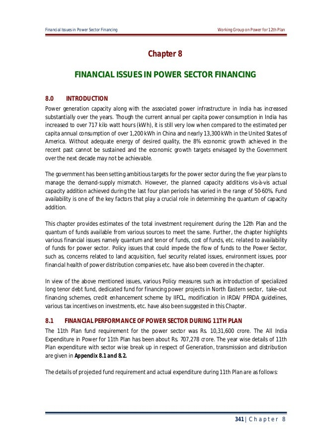 Financial Issues in Power Sector Financing Working Group on Power for 12th Plan 341 | C h a p t e r 8 Chapter 8 FINANCIAL ...