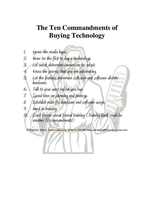 10 Commandments of Technology