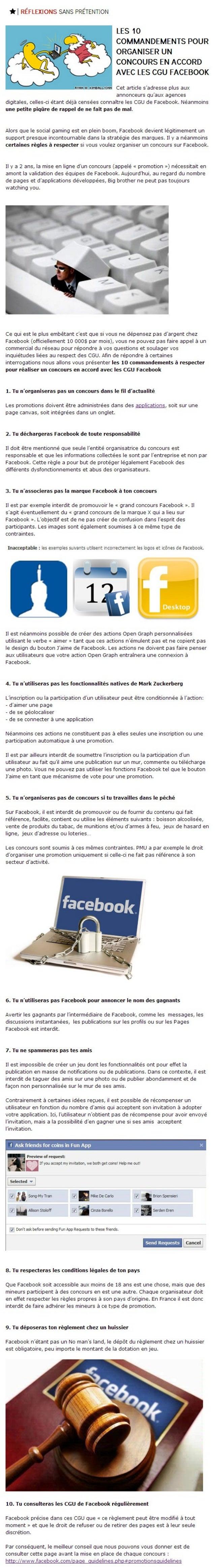 Les 10 commandements pour organiser un concours en accord avec les CGU de Facebook