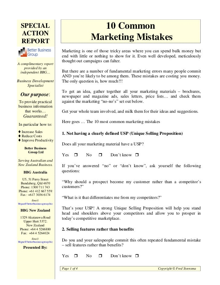 10 Most Common Marketing Mistakes