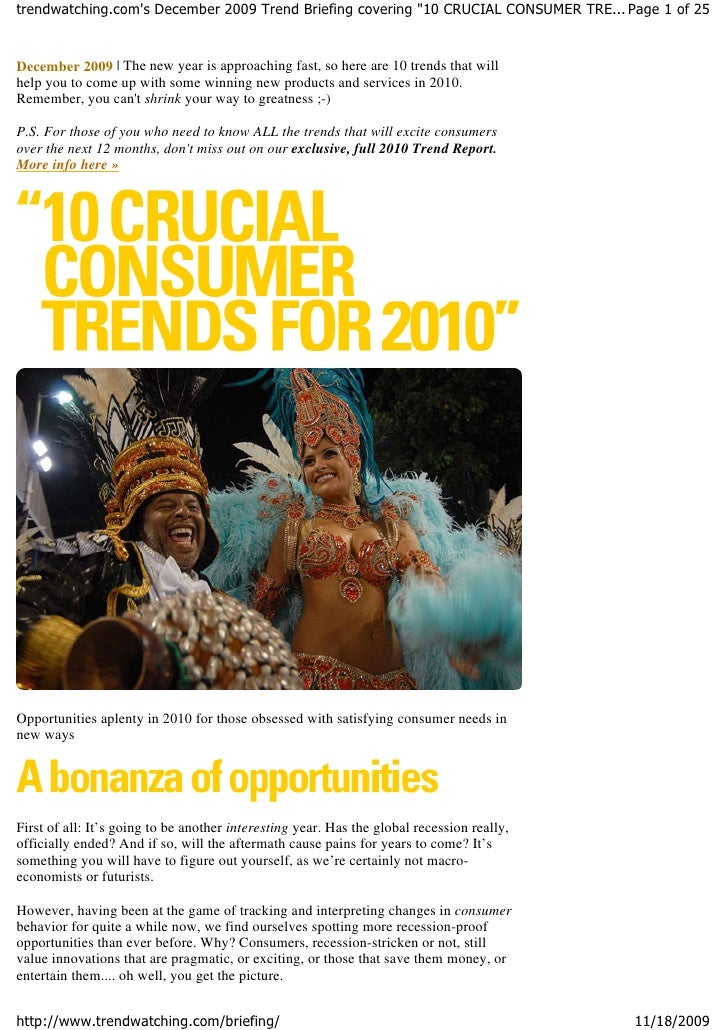 """trendwatching.com's December 2009 Trend Briefing covering """"10 CRUCIAL CONSUMER TRE... Page 1 of 25   December 2009 