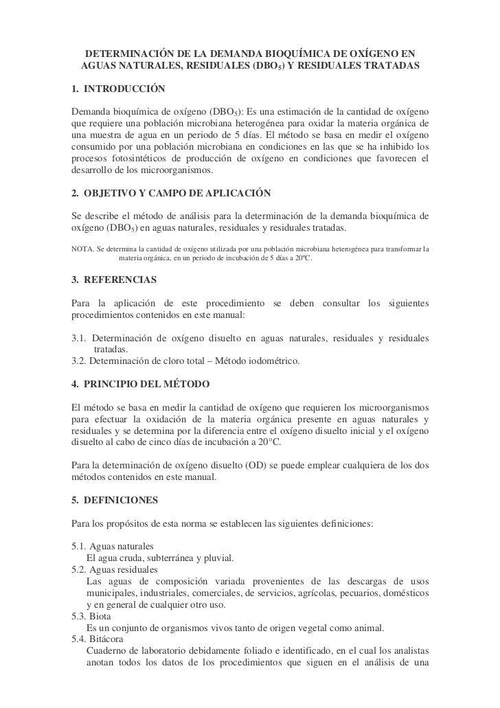 DETERMINACIÓN DE LA DEMANDA BIOQUÍMICA DE OXÍGENO EN  AGUAS NATURALES, RESIDUALES (DBO5) Y RESIDUALES TRATADAS1. INTRODUCC...
