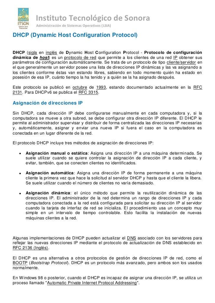 Instituto Tecnológico de Sonora             Administración de Sistemas Operativos (LSIA)  DHCP (Dynamic Host Configuration...