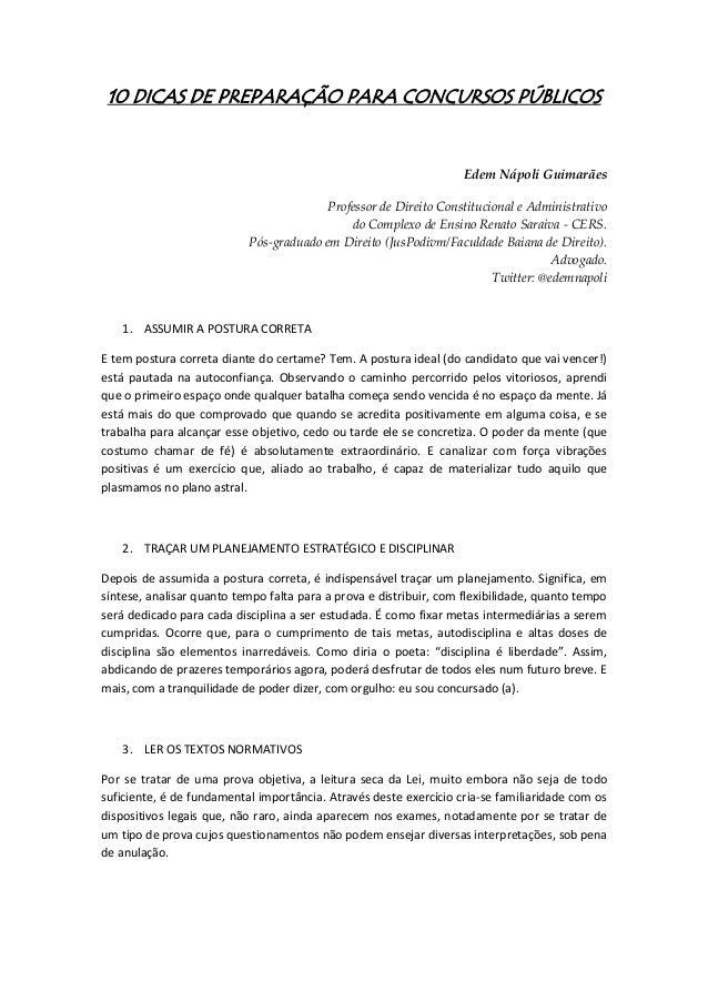 10 DICAS DE PREPARAÇÃO PARA CONCURSOS PÚBLICOS                                                                    Edem Náp...