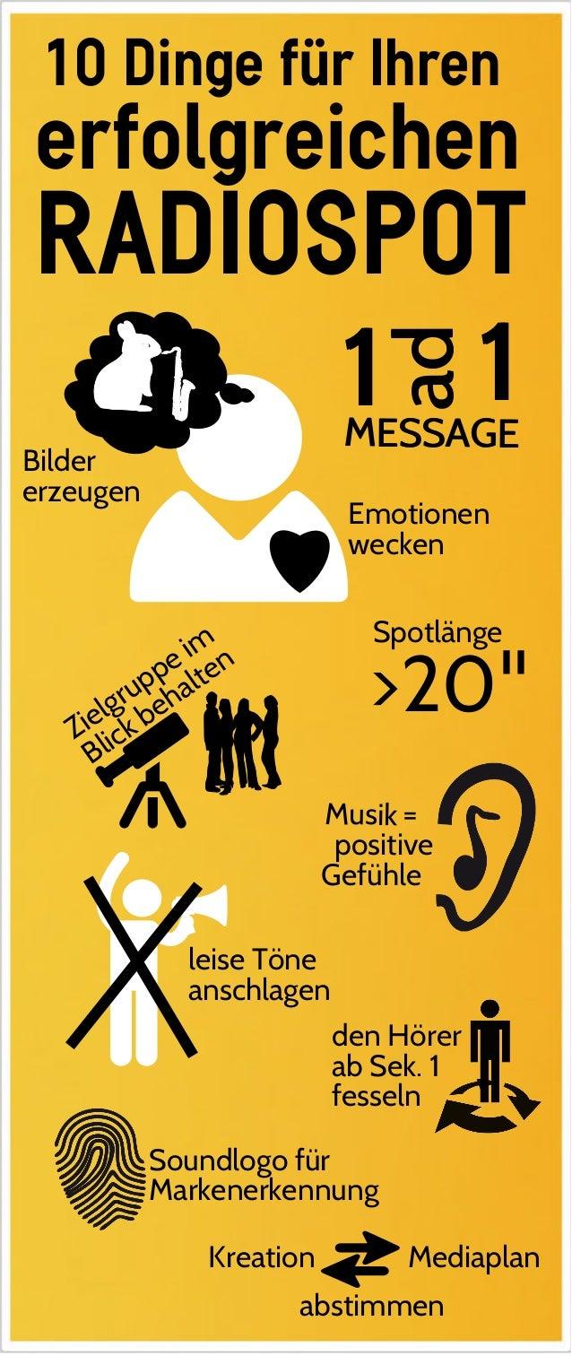 RADIOSPOT den Hörer ab Sek. 1 fesseln Spotlänge >20'' Bilder erzeugen Emotionen wecken leise Töne anschlagen = positive Ge...
