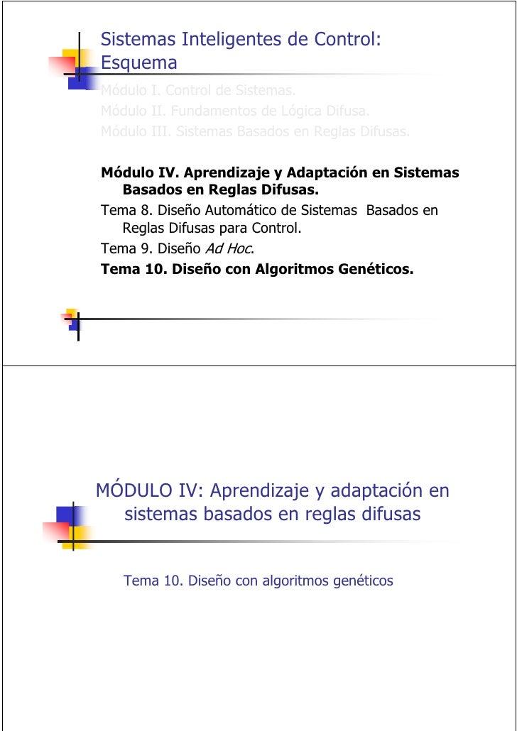 Sistemas Inteligentes de Control: Esquema Módulo I. Control de Sistemas. Módulo II. Fundamentos de Lógica Difusa. Módulo I...