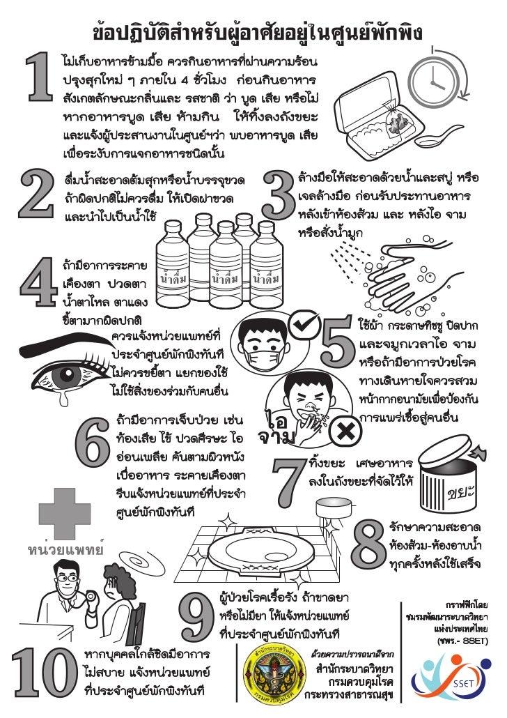 คำแนะนำข้อควรปฏิบัติสำหรับผู้เข้าอาศัยในศูนย์พักพิงชั่วคราวเพื่อป้องกันโรค