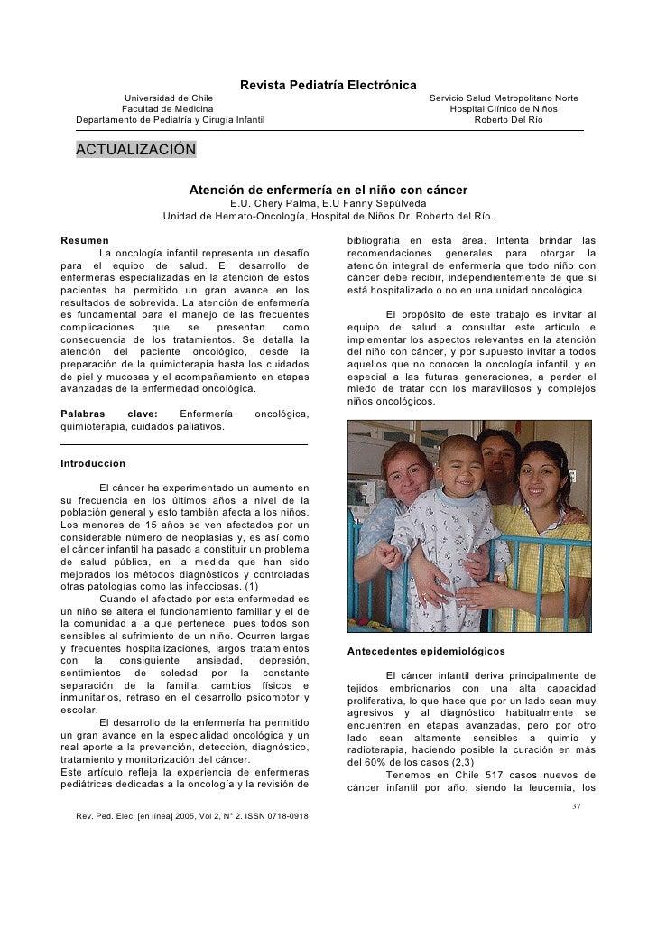 Atención de enfermería en el niño con cáncer
