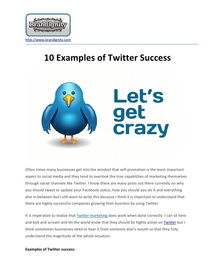 http://www.brandignity.com           10 Examples of Twitter SuccessOften times many businesses get into the mindset that s...
