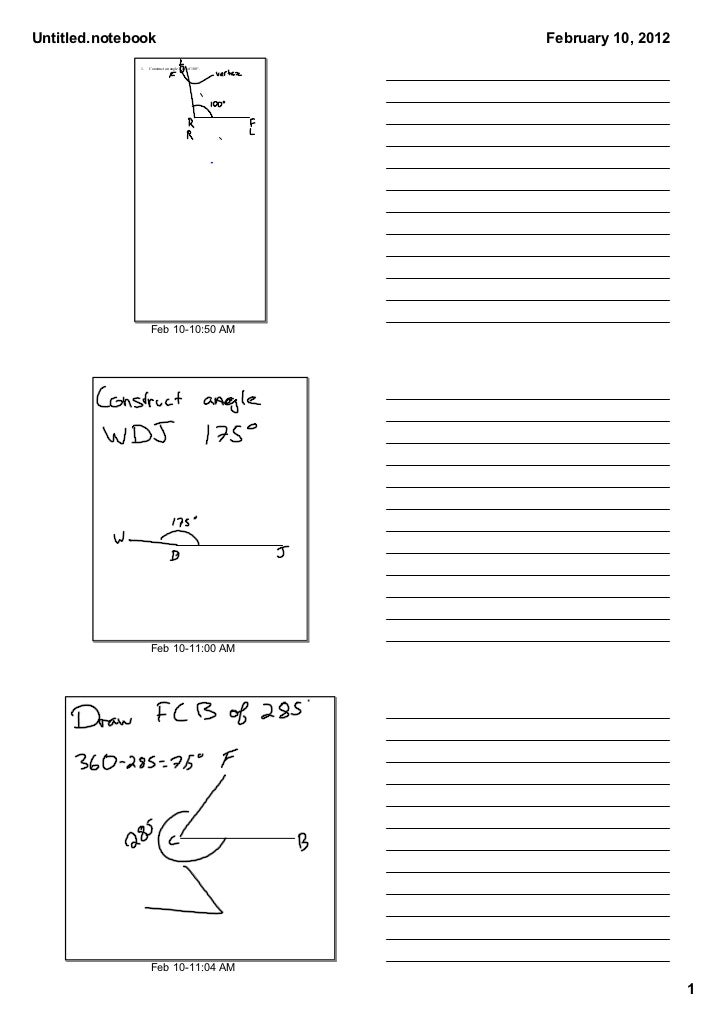Untitled.notebook                                    February 10, 2012              1.   Construct an angle LRF of 100°.  ...
