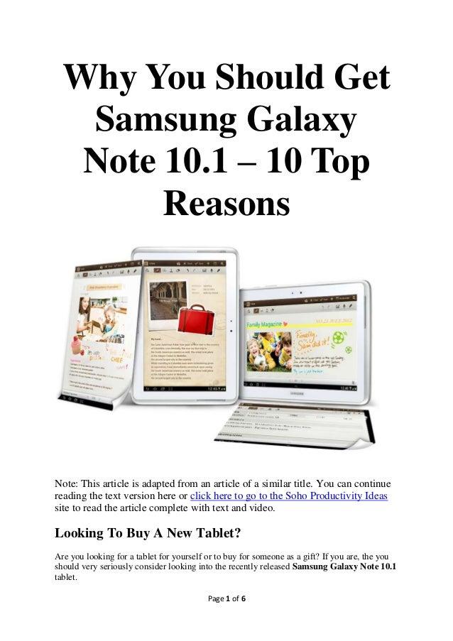 10 Good Reasons To Buy Samsung Galaxy Note 10.1