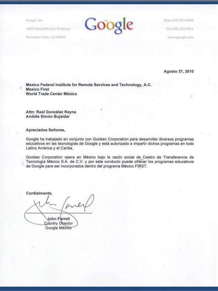 Propuesta de Educación y CertificaciónEn las Tecnologías de Google          México FIRST           2010-2011