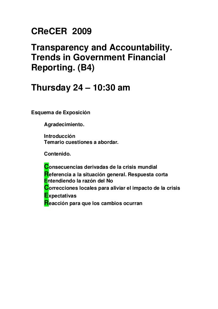 CReCER 2009 Transparency and Accountability. Trends in Government Financial Reporting. (B4)  Thursday 24 – 10:30 am  Esque...