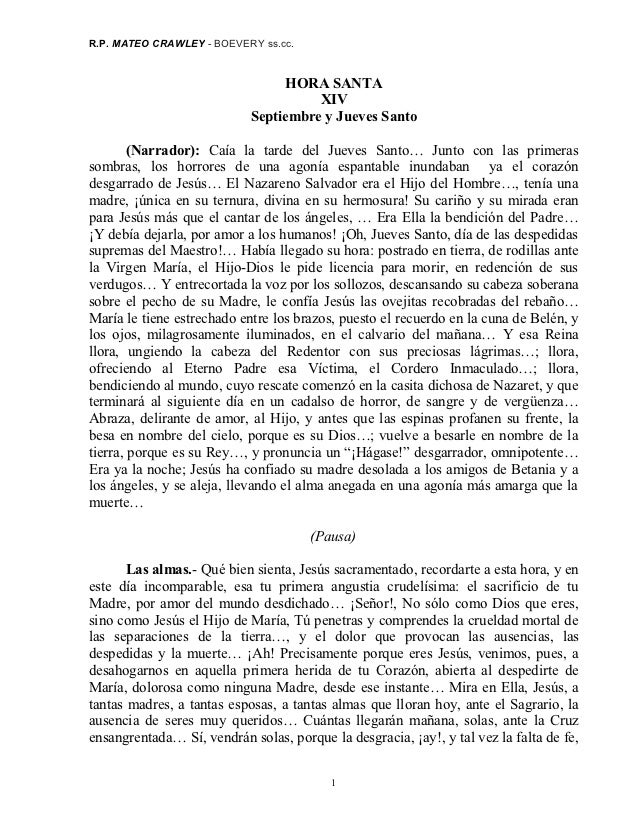 R.P. MATEO CRAWLEY - BOEVERY ss.cc.                                 HORA SANTA                                      XIV   ...