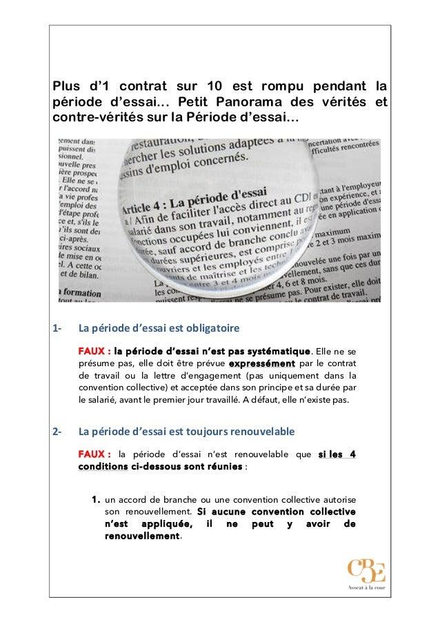 Plus d'1 contrat sur 10 est rompu pendant la période d'essai... Petit Panorama des vérités et contre-vérités s...