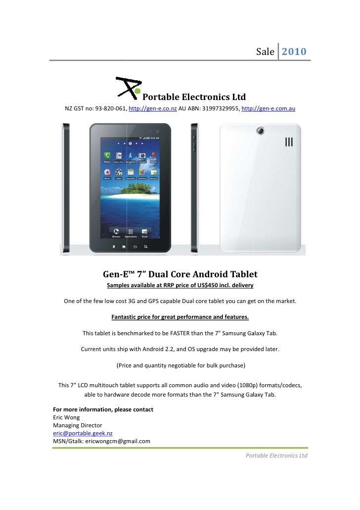 Sale 2010                                Portable Electronics Ltd    NZ GST no: 93-820-061, http://gen-e.co.nz AU ABN: 319...