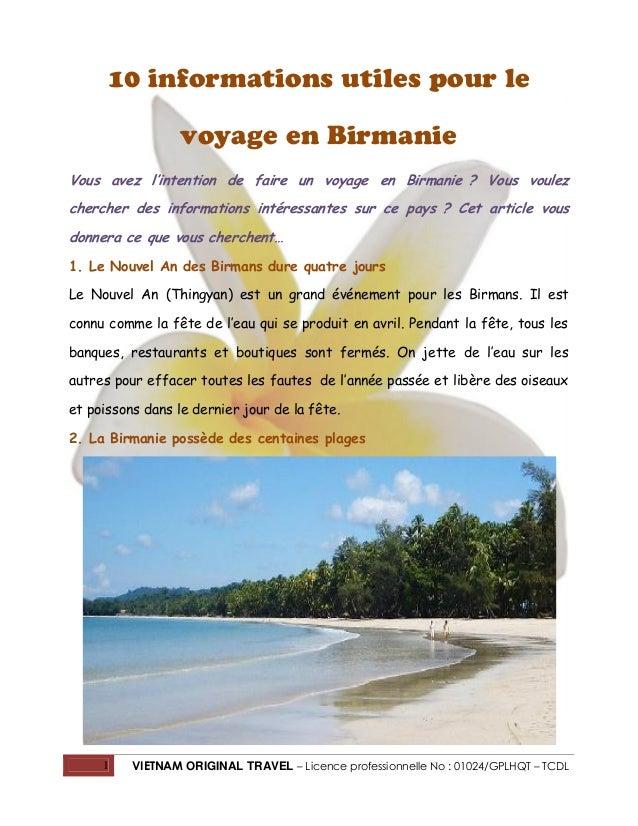 10 informations utiles pour le voyage en Birmanie Vous avez l'intention de faire un voyage en Birmanie ? Vous voulez cherc...