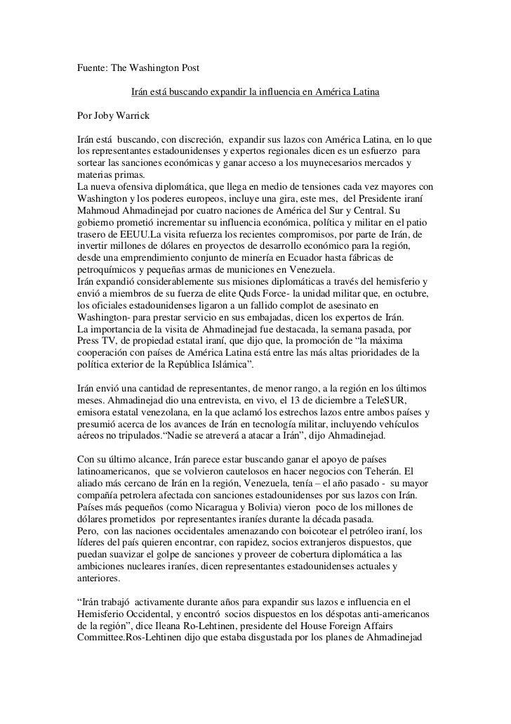 Fuente: The Washington Post             Irán está buscando expandir la influencia en América LatinaPor Joby WarrickIrán es...