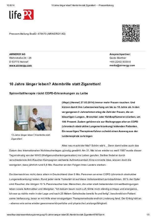 10.06.14 10 Jahre länger leben? Atembrille statt Zigaretten! - - Pressemitteilung www.lifepr.de/pressemitteilung/airnergy-...