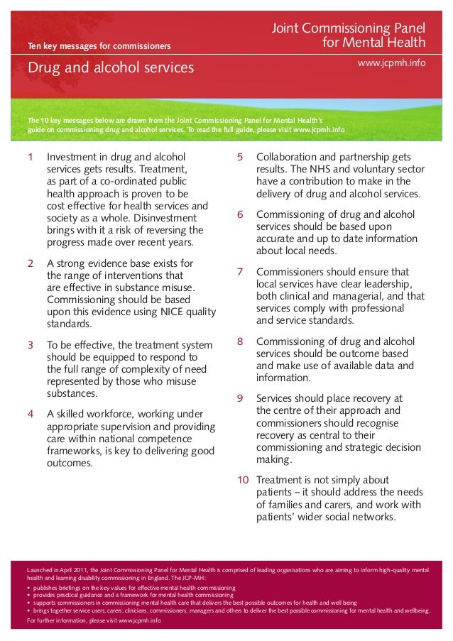 Ten key messages for commissioners  Joint Commissioning Panel for Mental Health www.jcpmh.info  Drug and alcohol services ...