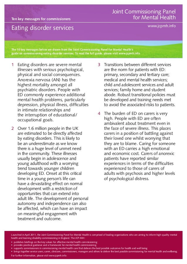 Ten key messages for commissioners  Joint Commissioning Panel for Mental Health www.jcpmh.info  Eating disorder services  ...