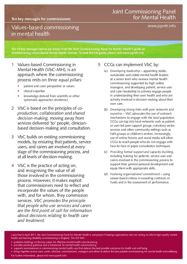 Ten key messages for commissioners  Joint Commissioning Panel for Mental Health www.jcpmh.info  Values-based commissioning...