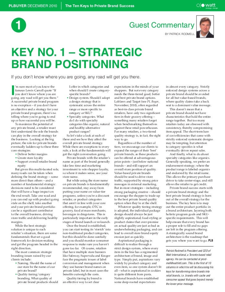PLBUYER DECEMBER 2010                      The Ten Keys to Private Brand Success     1                                    ...