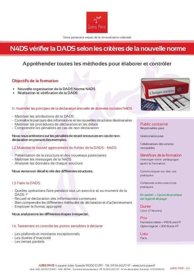 Votre partenaire expert de la rémunération salariale  N4DS vérifier la DADS selon les critères de la nouvelle norme  Appré...