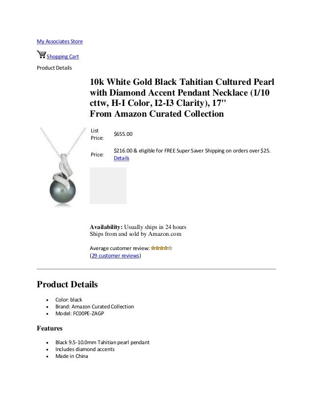 My Associates StoreShopping CartProduct Details10k White Gold Black Tahitian Cultured Pearlwith Diamond Accent Pendant Nec...
