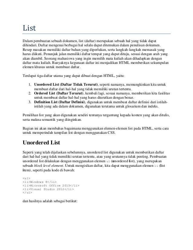 webdesign dasar : 10 list
