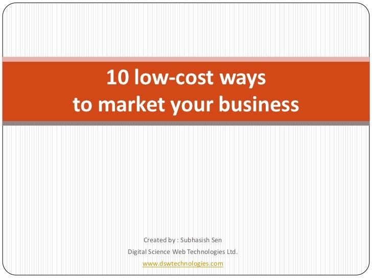 10 Low Cost Ways To Market Your Business