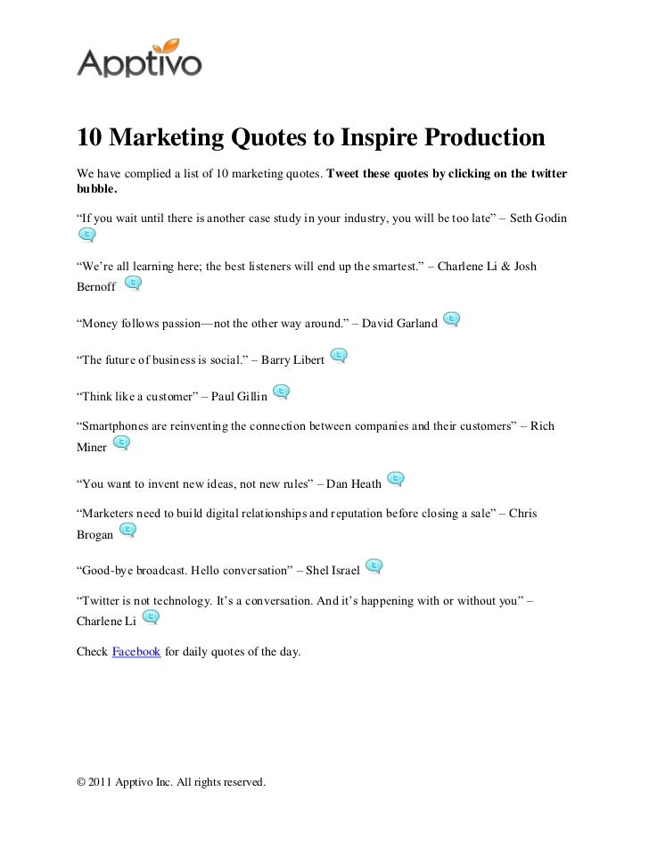10 marketing quotes to inspire production