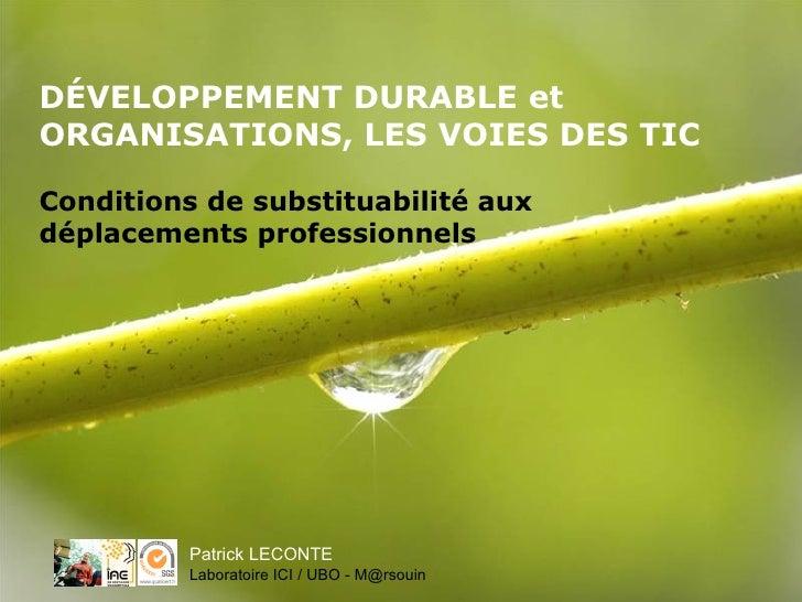 DÉVELOPPEMENT DURABLE et ORGANISATIONS, LES VOIES DES TIC Conditions de substituabilité aux déplacements professionnels Pa...