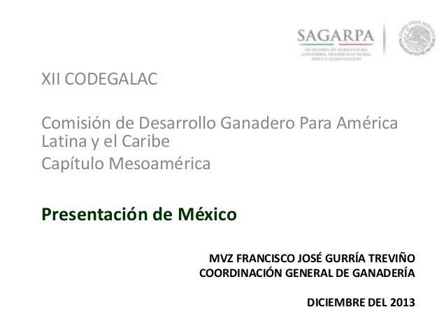 XII CODEGALAC Comisión de Desarrollo Ganadero Para América Latina y el Caribe Capítulo Mesoamérica  Presentación de México...