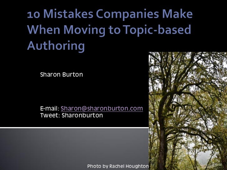 10 mistakes companies make when moving to topic-based authoring