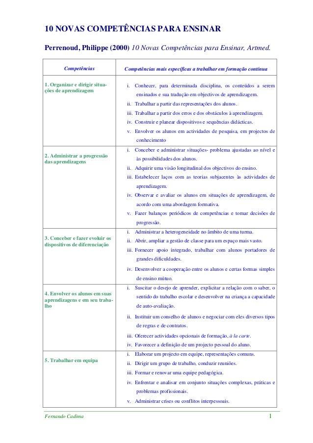 10 NOVAS COMPETÊNCIAS PARA ENSINARPerrenoud, Philippe (2000) 10 Novas Competências para Ensinar, Artmed.         Competênc...