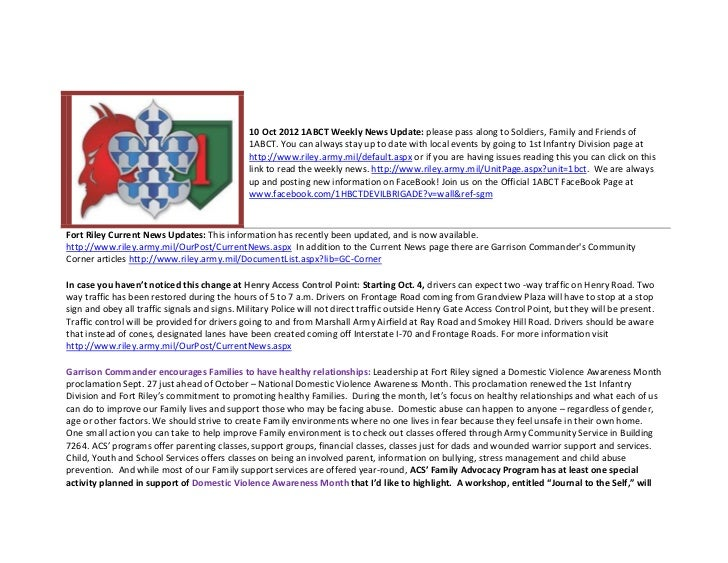 10 Oct 2012 1ABCT Weekly News Update: