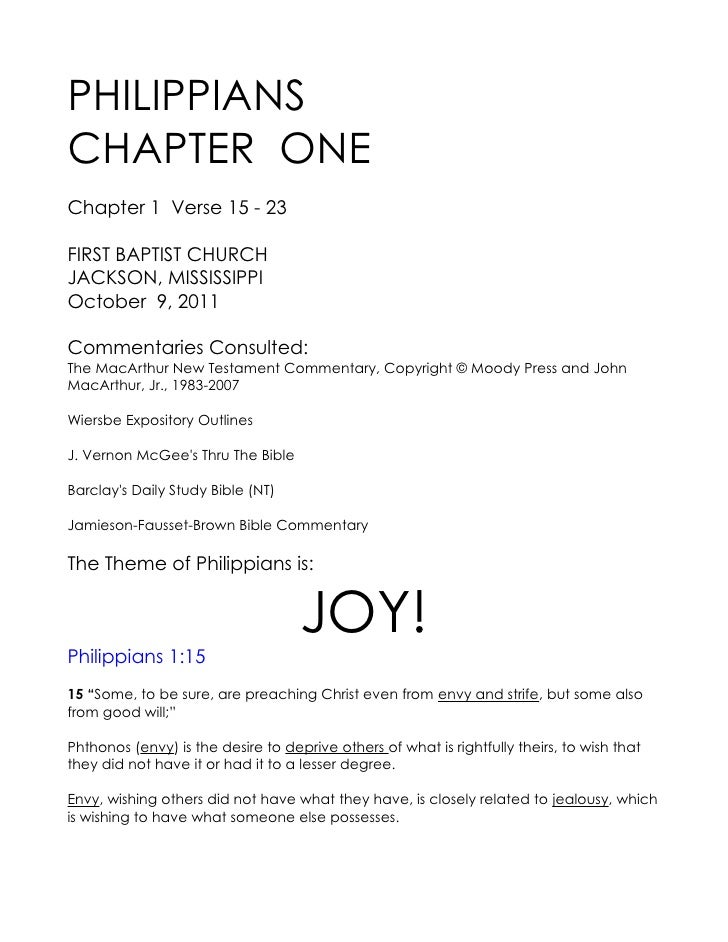 PHILIPPIANSCHAPTER ONEChapter 1 Verse 15 - 23FIRST BAPTIST CHURCHJACKSON, MISSISSIPPIOctober 9, 2011Commentaries Consulted...