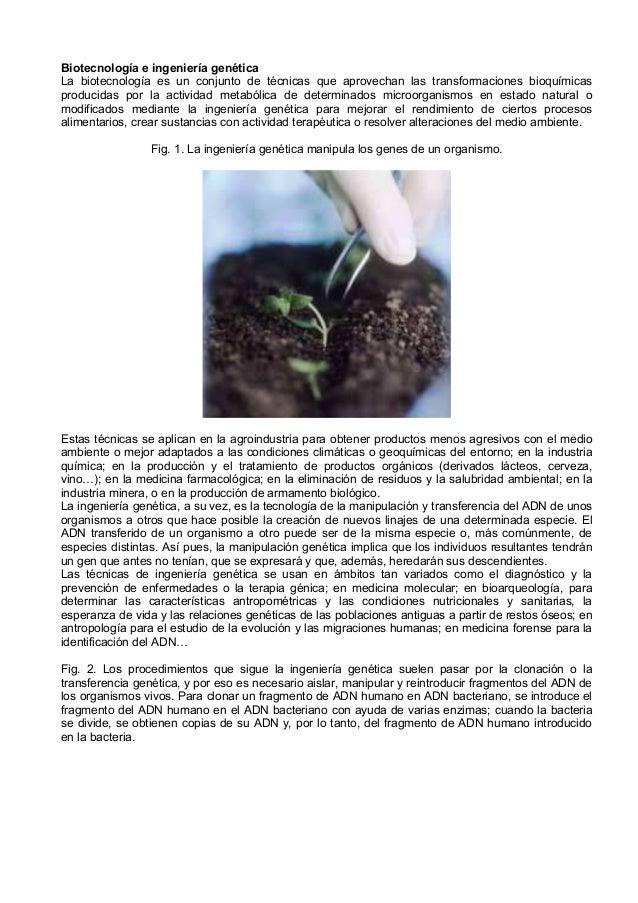 Biotecnología e ingeniería genéticaLa biotecnología es un conjunto de técnicas que aprovechan las transformaciones bioquím...