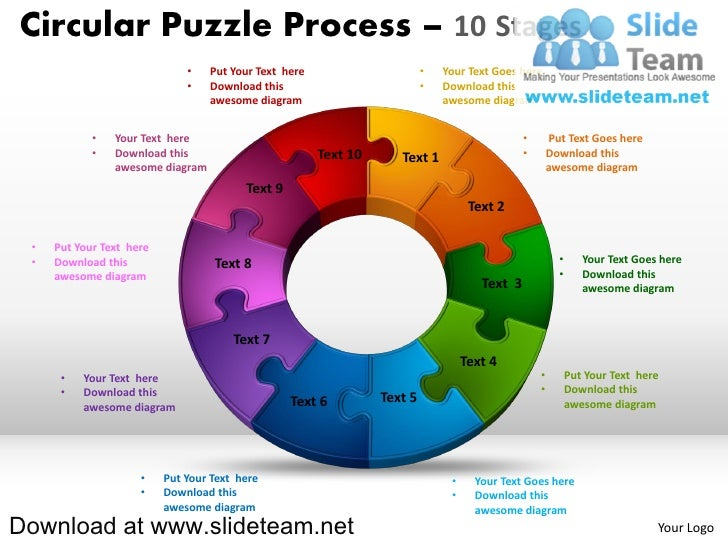 10 pieces pie chart circular puzzle with hole in center process powerpoint presentation slides and ppt templates