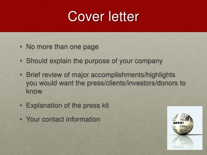 how to write a press kit cover letter