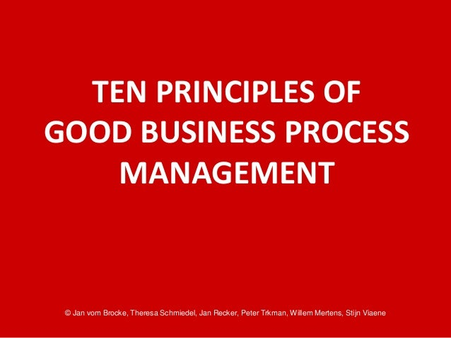 10 Principles of Good Business Process Management