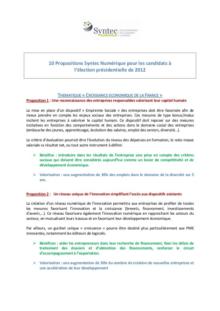 10 propositions sn def
