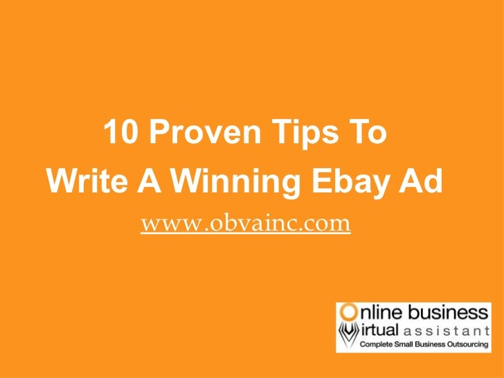 Top 10 Proven Tips To Write A Winning Ebay Ad- By OBVA Virtual Assistants