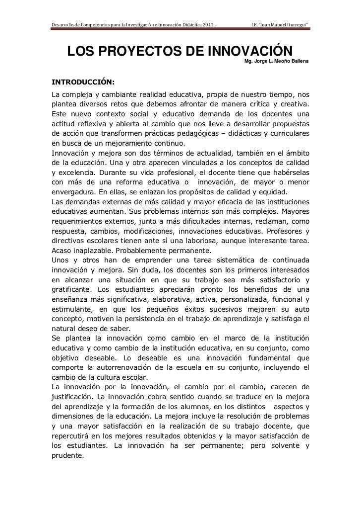 """Desarrollo de Competencias para la Investigación e Innovación Didáctica 2011 –     I.E. """"Juan Manuel Iturregui""""       LOS ..."""
