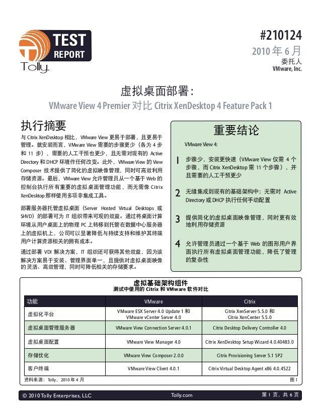 © 2010 Tolly Enterprises, LLC Tolly.com #210124 2010 年 6 月 委托人 VMware, Inc. TEST REPORT 执行摘要 虚拟桌面部署: VMwareView 4 Premier ...