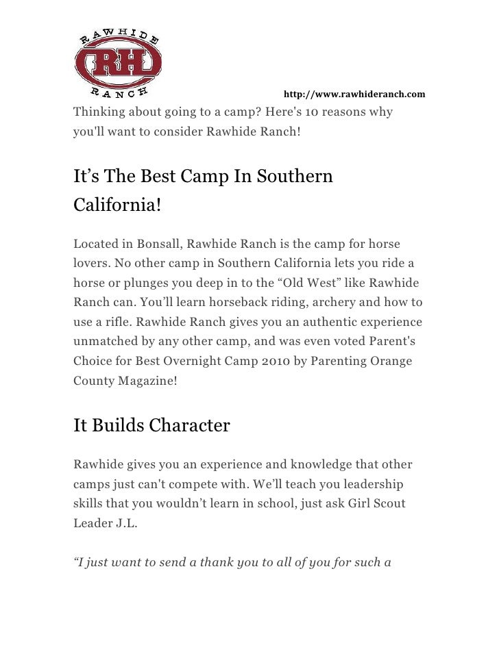 Thinking about going to a camp? Here's 10 reasons why you'll want to consider Rawhide Ranch!<br />It's The Best Camp In So...