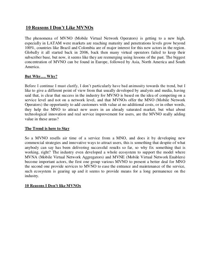 10 reasons I Don't Like MVNOs