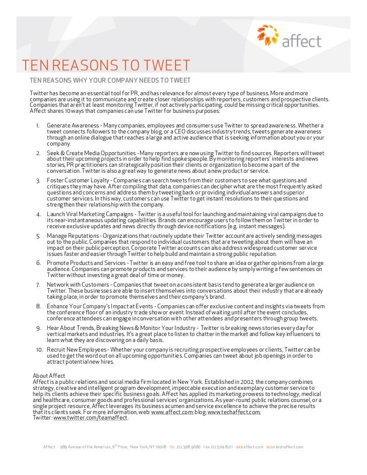 TEN REASONS TO TWEETTEN REASONS WHY YOUR COMPANY NEEDS TO TWEETTwitter has become an essential tool for PR, and has releva...